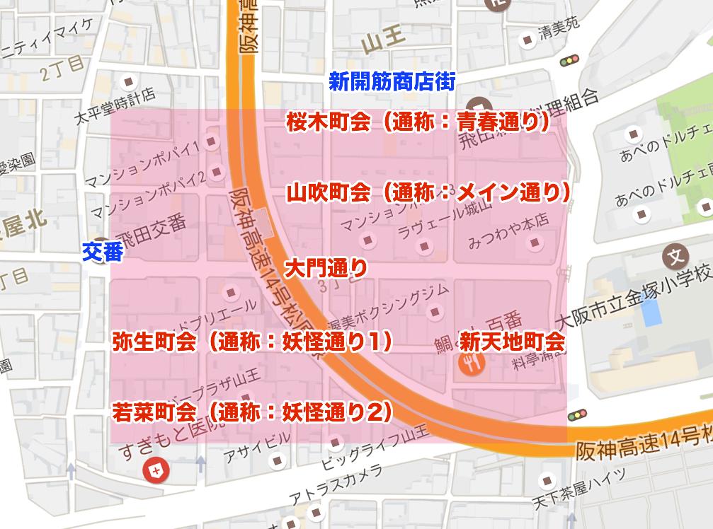 飛田新地のマップ